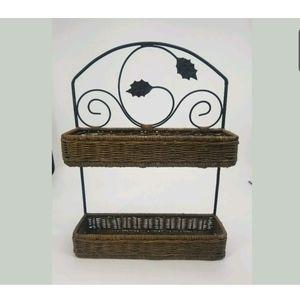 Wall Art - Metal and Wicker 2 Tier Basket Shelf Kitchen Decor